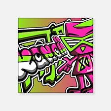 "EightiesNoteCardKanji Square Sticker 3"" x 3"""