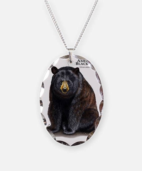 American Black Bear Necklace Oval Charm