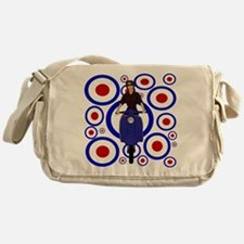 Retro mod girl on scooter Messenger Bag