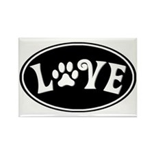 Love paw oval-black Rectangle Magnet