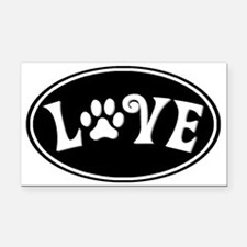 Love paw oval-black Rectangle Car Magnet