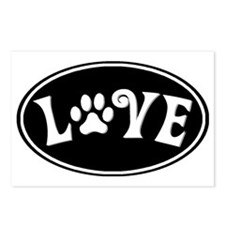 Love paw oval-black Postcards (Package of 8)