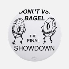 Donut_vs_Bagel_ME_flat Round Ornament