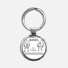 Donut_vs_Bagel_ME_flat Round Keychain