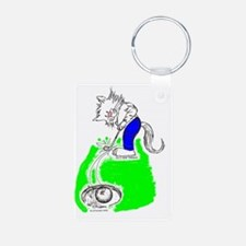 Golfer Cat in Color Keychains