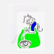 Golfer Cat in Color Greeting Card
