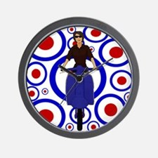 Retro mod girl on scooter Wall Clock