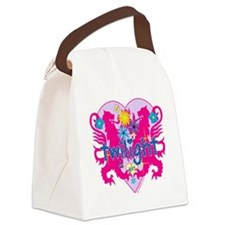 Twilight Girl Twin Lions Pink Canvas Lunch Bag