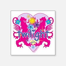 "Twilight Girl Twin Lions Pi Square Sticker 3"" x 3"""