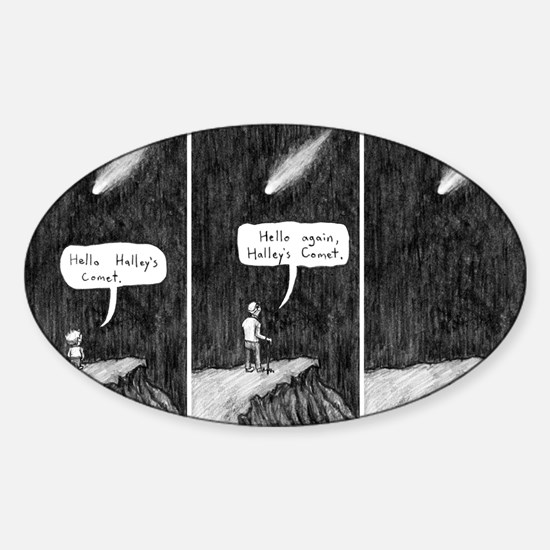 Halleys Comet Depressing Comic Sticker (Oval)
