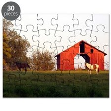 Farm Sceen with horses Barn  Note Card (Not Puzzle