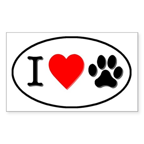 I heart paw oval-white Sticker (Rectangle)