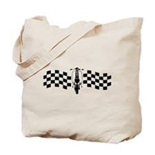 Vintage Scooter on oblong checks design Tote Bag
