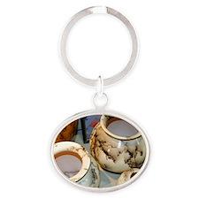 horsehair pottery Oval Keychain