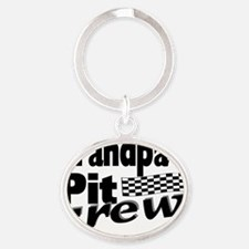 2-grandpas pit crew Oval Keychain