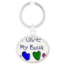 I Love My Busia Oval Keychain