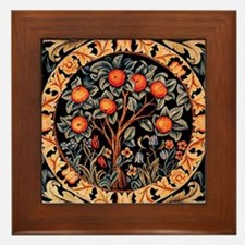 Orange Tree of Life by William Morris  Framed Tile