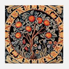 Orange Tree of Life by William Morris Tile Coaster