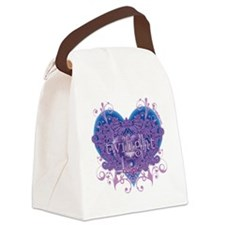 twilight eclipse blue heart Canvas Lunch Bag