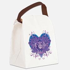 twilight eclipse blue heart Canvas Lunch Bag