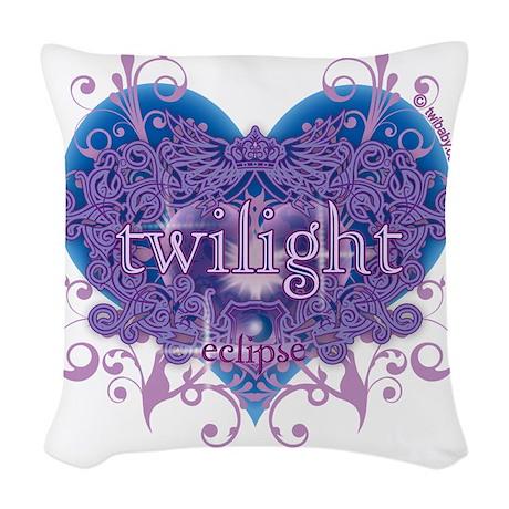 twilight eclipse blue heart Woven Throw Pillow