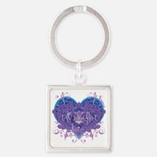 twilight eclipse blue heart Square Keychain