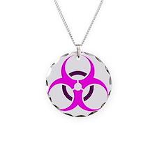 PinkBiohazard Necklace Circle Charm
