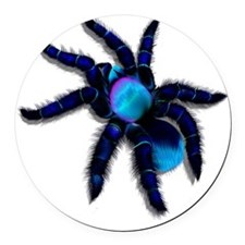 Big Blue Spider Trans Round Car Magnet