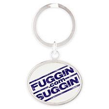 Fuggin Logo Angled in Blue Oval Keychain