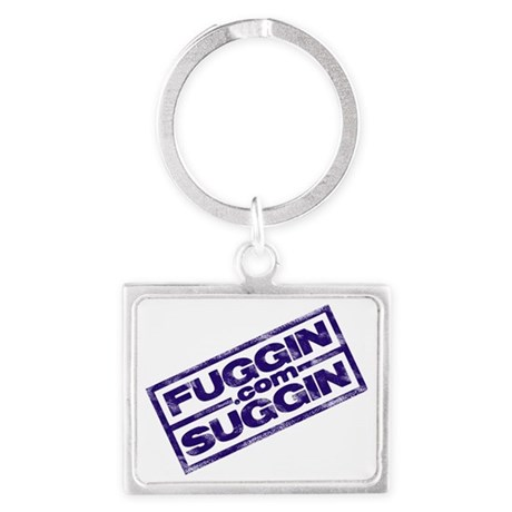 Fuggin Logo Angled in Blue Landscape Keychain