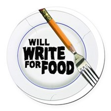 Write for Food Round Car Magnet
