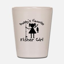 daddys little fisher girl 4 white Shot Glass