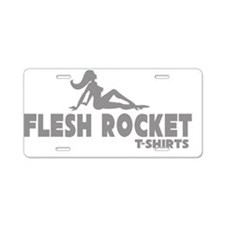 FleshRocketTeezOneColorGrey Aluminum License Plate