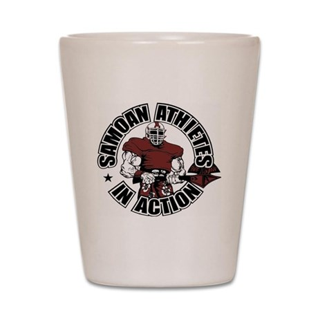 Samoan Atheletes In Action Shot Glass