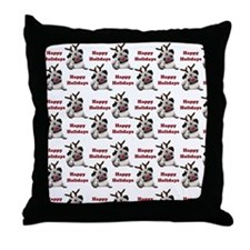 Happy Holidays Reindeer Ears Pugs Throw Pillow