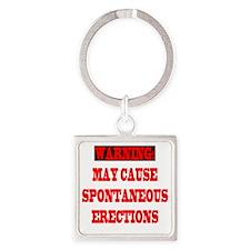 4-CAUTION.SPON.ERECT Square Keychain