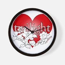 Twilight flower heart by twibaby Wall Clock