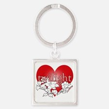 Twilight flower heart by twibaby Square Keychain