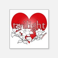"Twilight flower heart by tw Square Sticker 3"" x 3"""