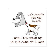 "cone of shame3 300res Square Sticker 3"" x 3"""