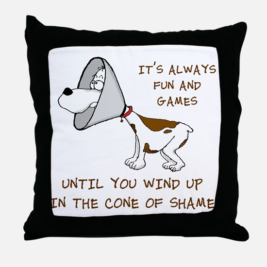 cone of shame3 300res Throw Pillow