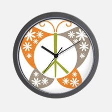 Peace Sign Butterfly Wall Clock