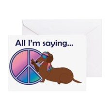 PeaceDoxie_brown_T Greeting Card