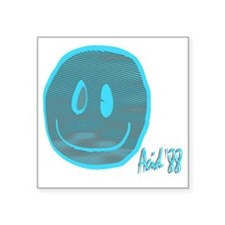 "2-blue smiley Square Sticker 3"" x 3"""