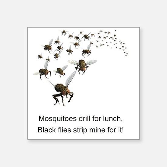 "black flies 2 Square Sticker 3"" x 3"""