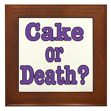 cake or death Blk purple Framed Tile