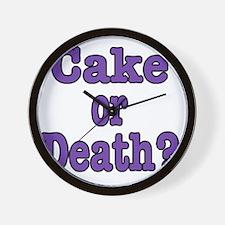 cake or death Blk purple Wall Clock