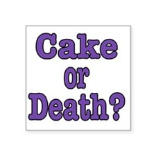 """cake or death Blk purple Square Sticker 3"""" x 3"""""""