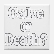 cake or death for dark Tile Coaster