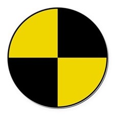 Crash Test Marker (Yellow and Bla Round Car Magnet
